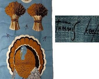 Vintage Tammis Keefe Thanksgiving Tea Towel New Old Stock turkey tea towel designer towel vintage towel turkey towel