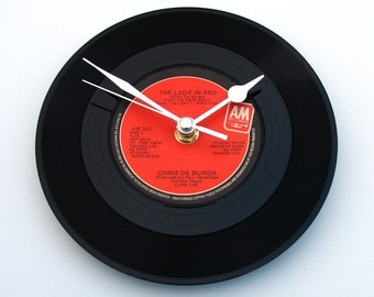 "Chris De Burgh Vinyl Record CLOCK "" The Lady In Red "", made from a recycled 7"" single, wall clock, retro, Irish Music, black and red"