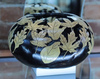 Gourd, Handcarved Gourd, Decorative Gourd Art, Gourd Bowl, Leaf Carved Gourd, Home Decor, Autumn Leaves, Hand Carved Gourd Art Bowl