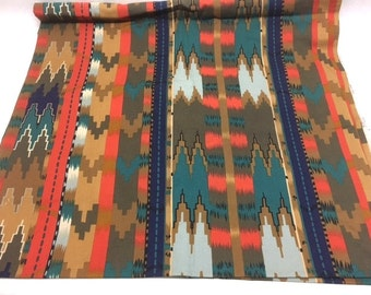 SOUTHWESTERN Geometric Fabric / ORANGE-Red And TEAL Navajo Print Fabric