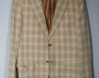 vintage linen sport coat men's size 36