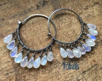 Moonstones Rustic Sterling Silver  * Luna Llena * Full Moon Flashing Moonstones earrings 1- fine gypsy . sterling silver hoops . large boho