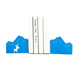 Decorative Bookends - Mountains and a Moose // unique book holders for children's room // housewarming gift // FREE  SHIPPING