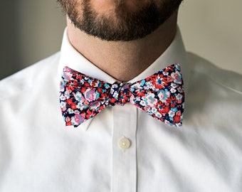 Self-Tie Floral Bow Tie, Untied Freestyle Bowties Bow Ties Necktie Men Tuxedo Wedding Formal Navy Red Blue