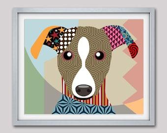 Whippet Art Print, Whippet Gift, Whippet Dog Pet Portrait, Animal Art, Dog Painting, Dog Wall Art