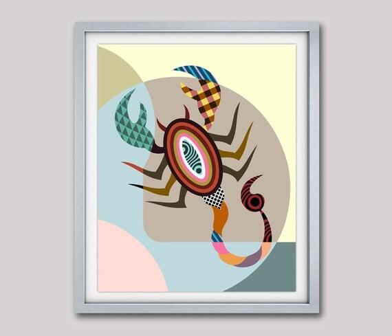 Scorpio Star Sign Poster, Scorpio Gift, Scorpio Print Wall Art,  Scorpio Art Print, Scorpion,  Zodiac Gift, Horoscope Gift