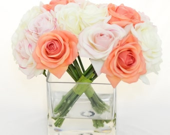 Real Touch Peach Orange Roses Light Pink Roses Arrangement using Artificial Faux Silk Flowers for Home Decor