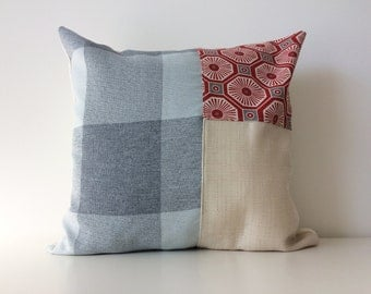 Modern Color Block Patchwork Pillow Cover,16x16, Neutral Colors, Contemporary Patchwork Cushion Cover Texture Red, Grey, Blue, Pattern Block