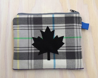 Maple Leaf Coin Pouch - Plaid Zipper Pouch, Black, Grey, Credit Gift Card Holder, Modern Coin Pouch, Lumberjack, Canadiana, Phone Holder