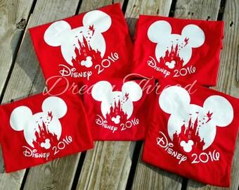 Mickey Disney Castle Family Vacation Vinyl Tees, Tinkerbelle, Minnie, Mickey, Disney family shirt (made to order)