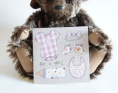New Baby Girl Card - New Baby Card- Printed Greetings Card from fabric Baby design - Blank Card