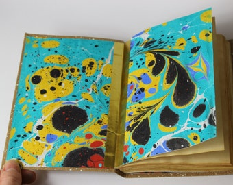 Journal, diary, notebook, antique paper, blank book with paper marbling