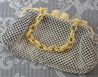 Bead Purse | Vintage Davis and Whiting Alumesh | Metal Beads | Mod Era Vanity Items