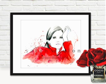 Fashion Illustration Print from original watercolor painting