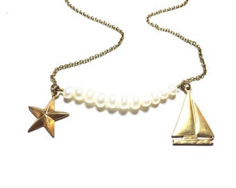 Pretty White Pearl Pendant Necklace with Star and Sailing Boat Brass Stampings