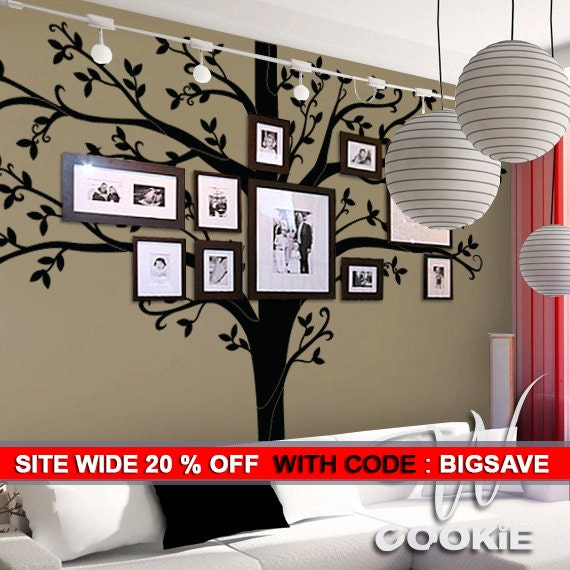 Etsy Family Wall Decor : Wall decal tall family tree decor by wcookie