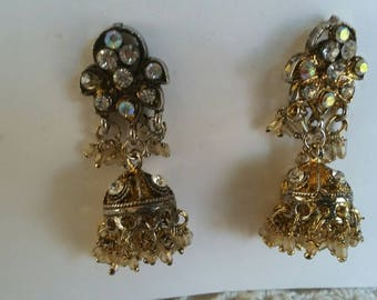 Vintage Gold Ethnic Bollywood Indian Tribal  Dangle Earrings, Gift Women