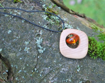 Juniper Wood Amber Unisex Pendant, Nature Eco Friendly Boho Hippie Amulet, Wood Rustic Pendant, For Him Her Wooden Square Amulet Pendant