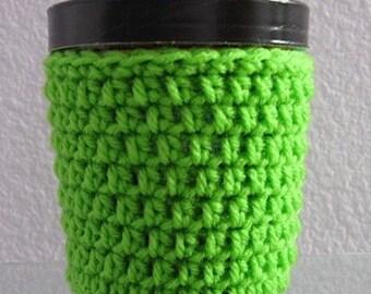 Ice Cream Cozy Pint Cover Crocheted Yogurt Coaster Sleeve - Neon Green