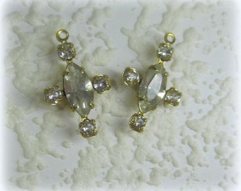 Swarovki Crystal 5 Multi Stone Rhinestone Navette 20MM Brass Drop