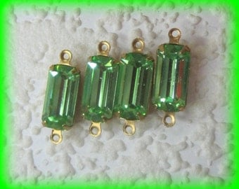 Swarovski Crystal, Rectangle, 18MM, Long Baguette, Peridot, Rhinestone, Brass, 4 Prong, 2 Ring, Setting, Connector,