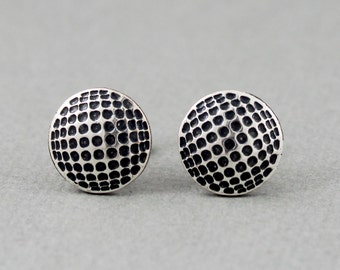 Golf Ball - antique silver plated post earrings