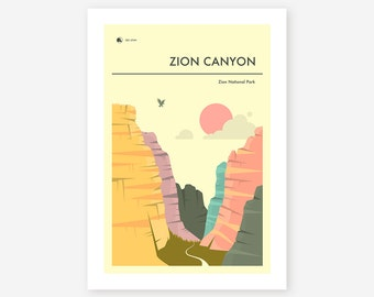 ZION NATIONAL PARK (Giclée Fine Art Print, Photo Print or Poster Print) 'Zion Canyon' by Jazzberry Blue