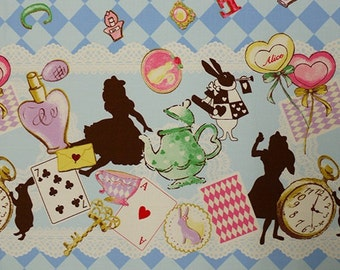 Classical and Modern Japanese Fabric  / Alice in Wonderland Oxford Fabric Blue - 50cm x 110cm