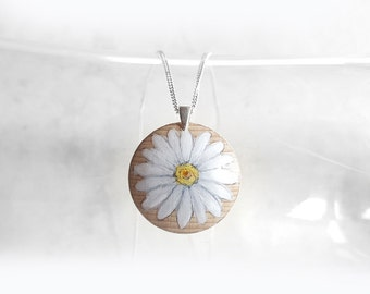 Daisy Flower Necklace, Art Pendant, Wooden Charm, 925 Silver Chain, Hand Painted Jewelry, Acrylic Painting, Gift for Mom, Sister or Friend