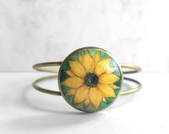 Hand Painted Bracelet, Sunflower Cuff Bracelet, Art Jewelry, Adjustable Flower Bracelet, Original Sunflower Painting in Yellow, Green