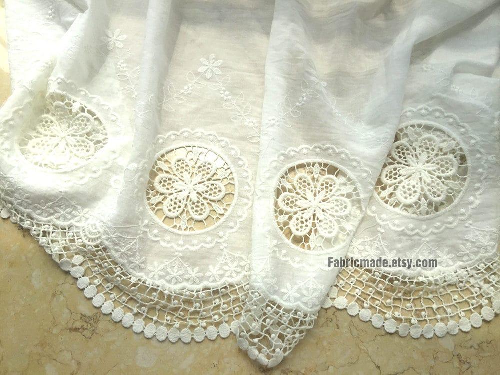 White cotton eyelet border fabric lace