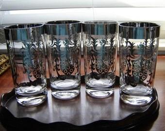 Vintage silver rimmed glassware 4 pc set drinkware barware Kimiko highball glassware barware Silver Guardian Shield