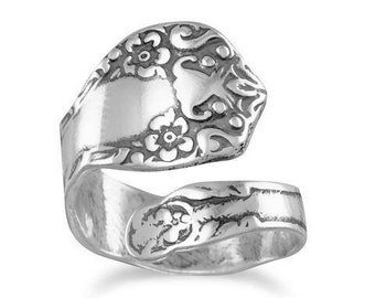 Oxidized Floral Spoon Ring, Adjustable oxidized silver spoon ring with a floral design, .925 Sterling Silver