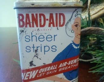 Vintage Band-Aid Tin Can, 1960s Lady Wearing Sweater & Pearls Band-Aid Tin Can