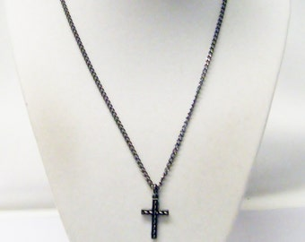 Dark Antique Silver Plated Beaded Cross Charm Necklace
