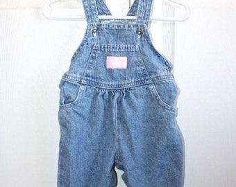 SALE Vintage Blue Jean OshKosh Bib Overalls . Baby Girl's Denim Vestbak Overall Pants Dungarees . Baby B'gosh . Size 6/9 Months