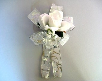 Wedding gift bow, Gift for brides, Bridal shower gift bow, Bridal shower decoration, Package decoration, White and silver wedding bow (W137)