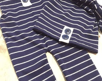 Navy or Gray Newborn Romper Striped with Top knot Hat Set, Button, Baby Boy onesie, photo prop, overalls