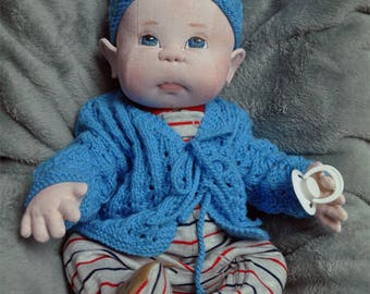 "Fretta's Newborn Baby Boy Doll. Weighted Empathy Baby. Pacifier Baby. Realistic looking jointed 50.8 cm /20"" Soft Sculpture Baby."