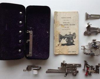 Antique Singer Sewing Machine Attachments in Case