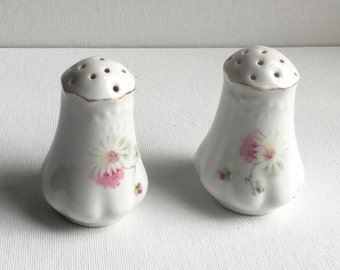 Daisy and pink floral Salt and Pepper ceramic porcelain with gold trim