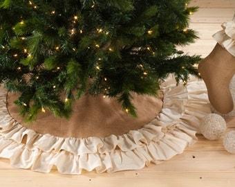 Christmas Tree Skirt | Monogram Tree Skirt | Burlap Tree Skirt | Ruffle Tree Skirt | Cream Tree Skirt | Jute Tree Skirt | Duogram | Merry