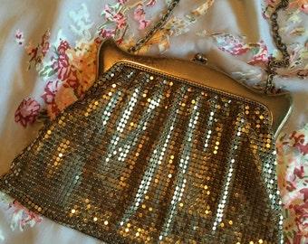 30s 40s Whiting David Gold Metal Mesh Evening Bag