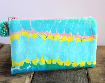 Hand Marbled Zip Pouch - Pink, Blue, Yellow, Teal - item #7982