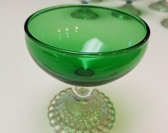 8 Vintage Anchor Hocking Emerald Green Bubblie Base Sherbet Glasses