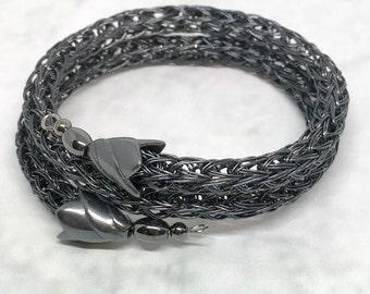 Hematite black Viking knit metalwork wrap bracelet