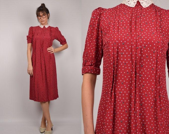 80's Floral Midi Dress w/ Lace Pan Collar