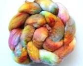 BFL - Ginger Rose Tea - roving top - Deep orange, rose, greens, aqua, pale yellow, and more - spinning wool braid - 3.9 oz