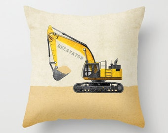 Excavator Construction Throw Pillow Cover - Personalized with Name for Nursery or Big Kid Room Decor Dump Truck Backhoe Bulldozer