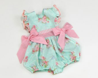 Bubble Romper, Baby Girl Romper, Easter Romper, Floral Romper, Toddler Romper, Pink Romper, Blue Romper, Baby Girl Gift